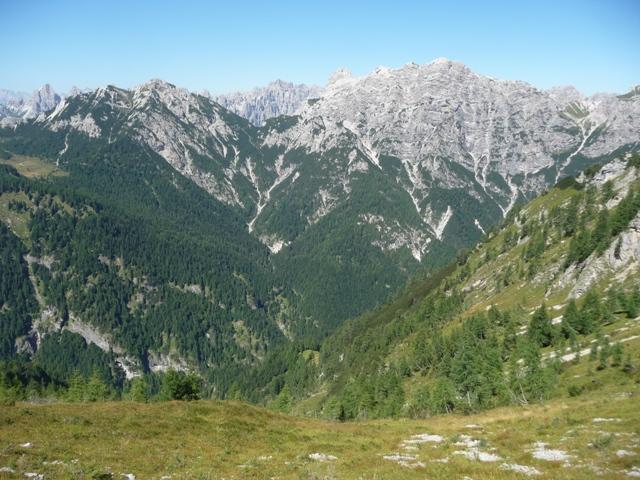 Dalla sella discesa nella Val Pezzeda. Al centro in basso il poggio di Casera Fabbro, sullo sfondo il Monte Ferrara, la Forcella Ciol de Mont, e la cresta delle Cime Postegáe.